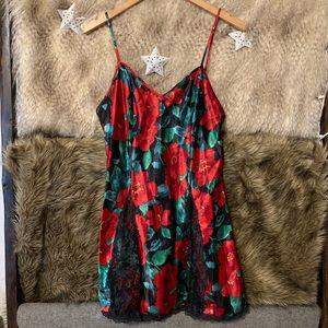 Victoria's Secret Red Floral Lace Chemise Slip